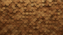 Wood Block Wall Background. Mosaic Wallpaper With Light And Dark Timber Fish Scale Tile Pattern. 3D Render