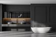 Leinwandbild Motiv Grey bathroom with white bathtub and sinks near window on marble floor