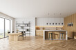 Leinwandbild Motiv Wooden kitchen room with dining table and chairs, parquet floor