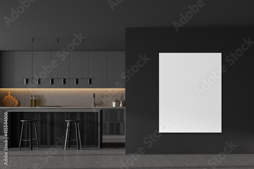 Mockup copy space in grey kitchen with dining table and bar chairs, marble floor