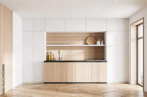 Obraz Wooden and white kitchen set with shelves and appliances, parquet floor - fototapety do salonu