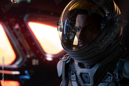 Papel de parede Portrait of African American Black male astronaut inside spaceship cockpit