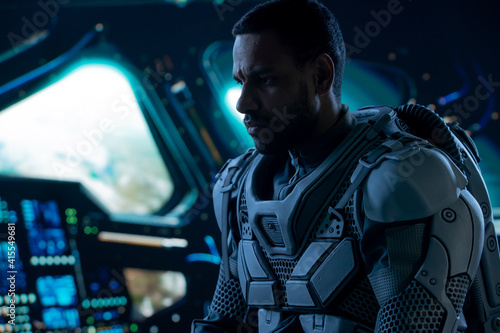 Fotografie, Tablou Portrait of African American Black male astronaut inside spaceship cockpit