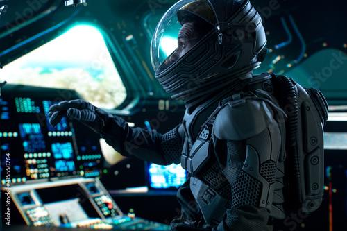 Photo Portrait of African American Black male astronaut inside spaceship cockpit