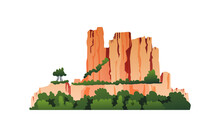 Mountain With Vegetation, Green Trees On Rocky Cliffs, Grass And Bushes Isolated Cartoon Icon. Vector Mount Range And Plants, Jungle Forests And Rocks Panorama. Natural Ridge Summer Scenery Background