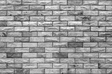 Empty Gray Brick Wall Or Black White Stone Floor And Table Loft By Retro Mosaic Style On Top View For Old Texture Background And Dark Vintage Wallpaper Or Modern Interior Brickwork To Construction
