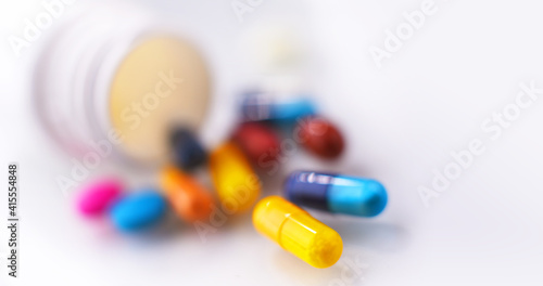 Composition with variety of drug pills and container © monticellllo