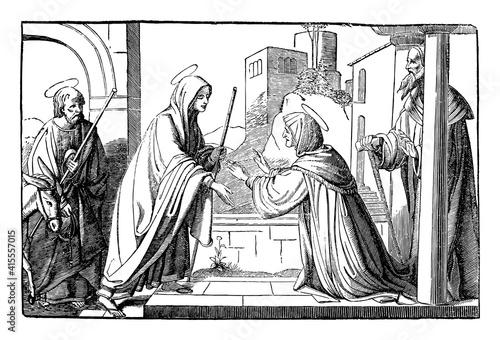 Fotografie, Obraz Elizabeth, mother of John the Baptist, visited by virgin Mary, mother of Jesus Christ