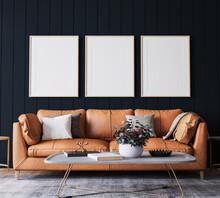 Mockup Frame In Dark Living Room Interior Background, Farmhouse Style, 3d Render