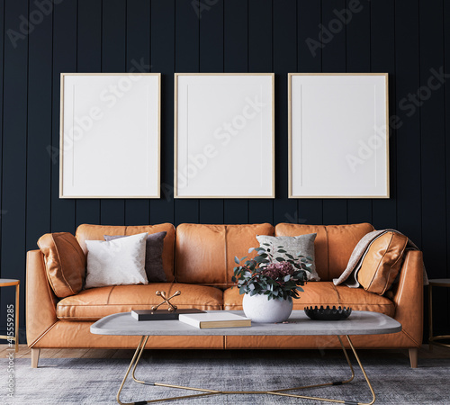 Photo Mockup frame in dark living room interior background, farmhouse style, 3d render