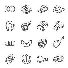 Meat Products, Dishes, Poultry Thin Line Icons Set Isolated On White. Chicken, Sausages, Beef Steak.