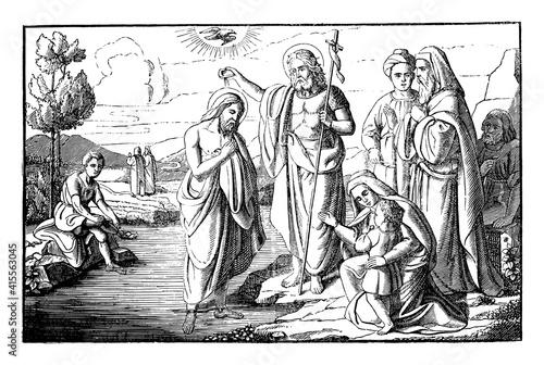 Fotografie, Obraz John the Baptist baptizing Jesus Christ in River Jordan
