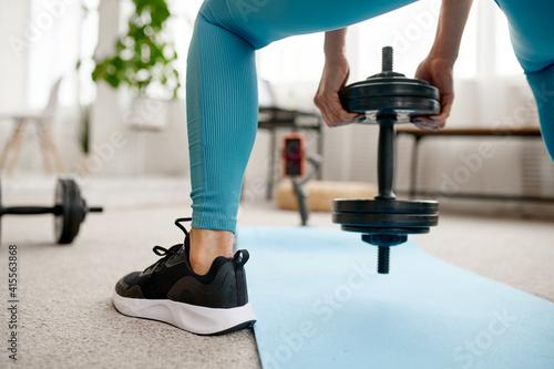 Fototapeta Girl with dumbbell, online fitness training obraz