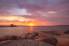Beautiful, Colourful ,autumn Sunrise Over Picnic Rocks. Mount William National Park. Part Of The Bay Of Fires Conservation Area. North Eastern Tasmania, Australia.