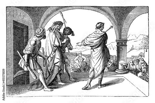 Obraz na płótnie Jesus crowned with thorns presented by Pontius Pilate to hostile crowd