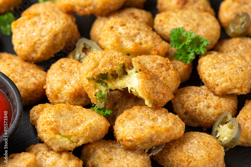 Crispy Jalapeno Popper with creamy cheese battered party food bites