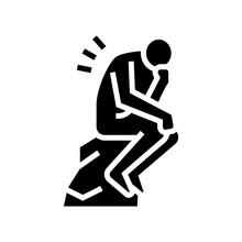 Thinker Philosophy Glyph Icon Vector. Thinker Philosophy Sign. Isolated Contour Symbol Black Illustration