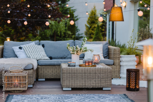 Summer evening on the patio of beautiful suburban house with garden Fototapet