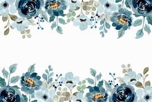 Watercolor Floral Frame. Soft Blue Floral Background
