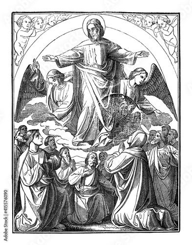 Fotografia Resurrected Jesus Christ is taken up to heaven