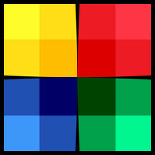 Red, Green, Blue And Yellow Colors Squares.