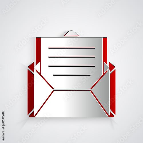 Paper cut Envelope icon isolated on grey background Fototapeta