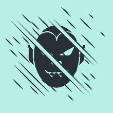 Black Vampire Icon Isolated On Green Background. Happy Halloween Party. Glitch Style. Vector.