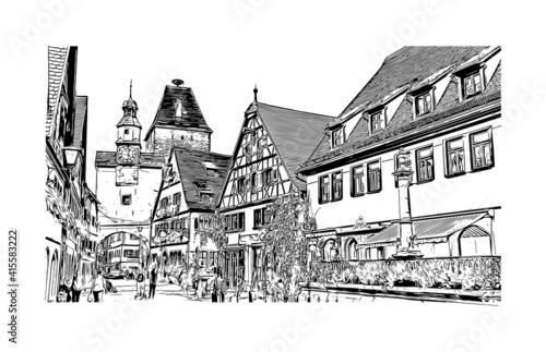 Fotografija Building view with landmark of Rothenburg ob der Tauber is a German town in northern Bavaria
