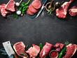 Leinwandbild Motiv Variety of raw cuts of meat, dry aged beef steaks and hamburger patties