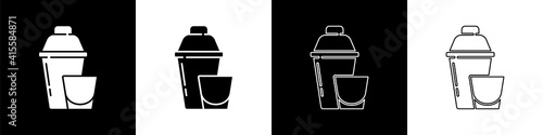 Photo Set Cocktail shaker with cocktail glass icon isolated on black and white background