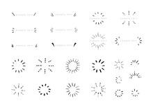 サンバースト 手描き 鉛筆 クレヨン 太陽線 集中線 セット