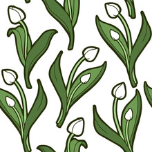 Seamless Background. White Tulips Isolated On White Background. Bright Green Leaves. Botanical Pattern. Floristic Shop.