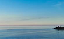 Pescatori Sul Molo Al Tramonto Mare Adriatico