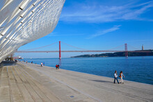Photograph Registered Through The Stairs Of The MAAT With A View Of The 25 De Abril Bridge In Lisbon, Portugal.