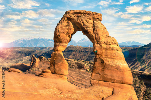 Stampa su Tela Beautiful Sunset Image taken at Delicate Arch with no person