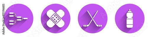 Photo Set Championship tournament bracket, Crossed bandage plaster, Ice hockey sticks and Fitness shaker icon with long shadow