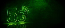 Green Neon Light 5G Icon. Vibrant Colored Technology Symbol, Isolated On A Black Background. 3D Render