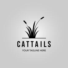 Cattails Logo Vintage Vector Minimalist Illustration Design
