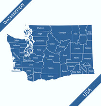 Counties Map Of Washington Labeled