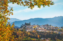 Barga Village At Sunset In Autumn. Garfagnana, Tuscany, Italy.