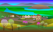 Spring Landscape With Blossoming Trees, Valley, River, Houses, Green Hills, Mountains. Vector Illustration.
