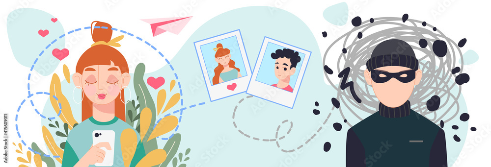 Fototapeta Online dating scam concept. A young girl meets a fraudulent stranger on the Internet. Cybersecurity for online dating. Flat vector illustration isolated on white background.