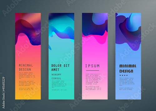 Fototapeta Set of abstract vector banners design. Collection of web banner template. modern template design for web, ads, flyer, poster with 3 different colors  obraz na płótnie