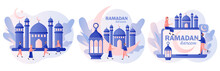 Ramadan Kareem. Tiny People Greet Each Other Eid Mubarak Holiday. Holy Month, Lantern For Pray At Night And Mosque. Muslim Feast. Modern Flat Cartoon Style. Vector Illustration On White Background