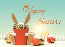 Easter Greeting, Easter Eggs And Bunny On Beige Background