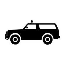 SUV Icon. Off-road Vehicle. Black Silhouette. Side View. Vector Flat Graphic Illustration. The Isolated Object On A White Background. Isolate.