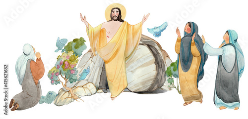 Easter illustration Jesus Christ is risen, isolated on white background watercolor hand drawn praying women and cave of resurrection Fototapeta
