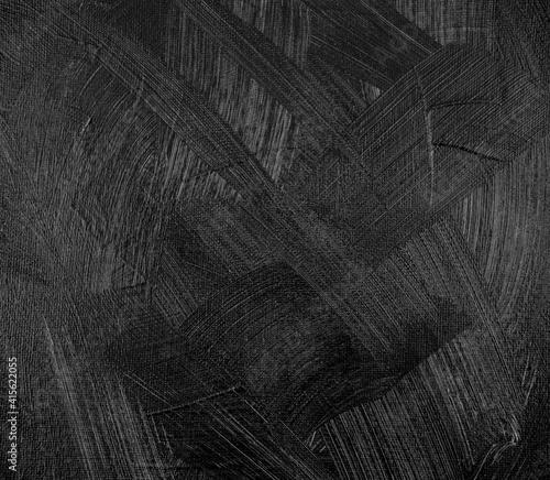 Obraz Handmade. Brush strokes of black texture abstract acrylic on canvas background. - fototapety do salonu