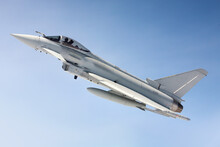RAF (Royal Air Force) Typhoon Fighter Jet Air To Air Photograph Against A Blue Sky