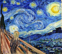 The Scream At The Starry Night. Combination Of My Two Digital Reproductions. Edvard Munch And Vincent Van Gogh Paintings Reproduction In Low Poly Style. Conceptual Polygonal Vector Illustration.